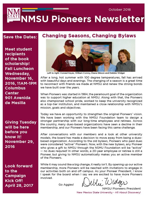 October 2016 Newsletter PDF